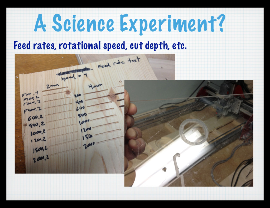 A Science Experiment? Feed rates, rotational sp...