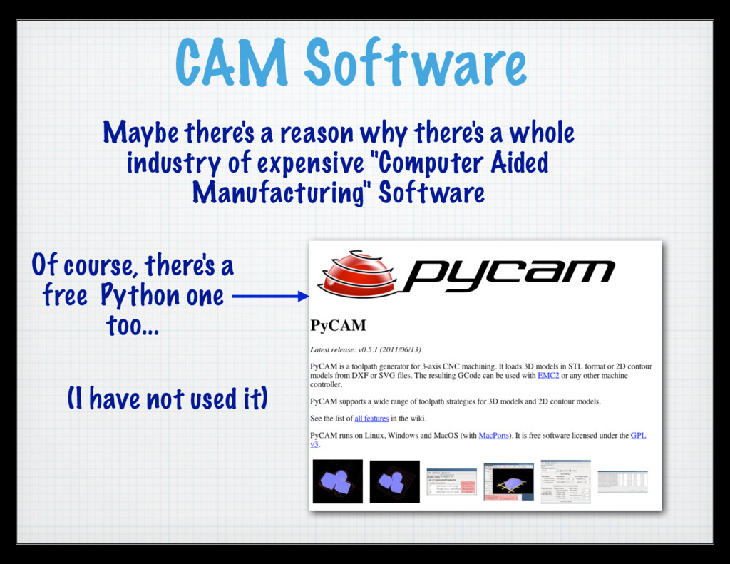 CAM Software Maybe there's a reason why there's...
