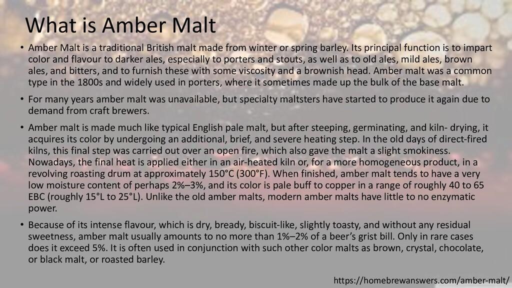 What is Amber Malt https://homebrewanswers.com/...