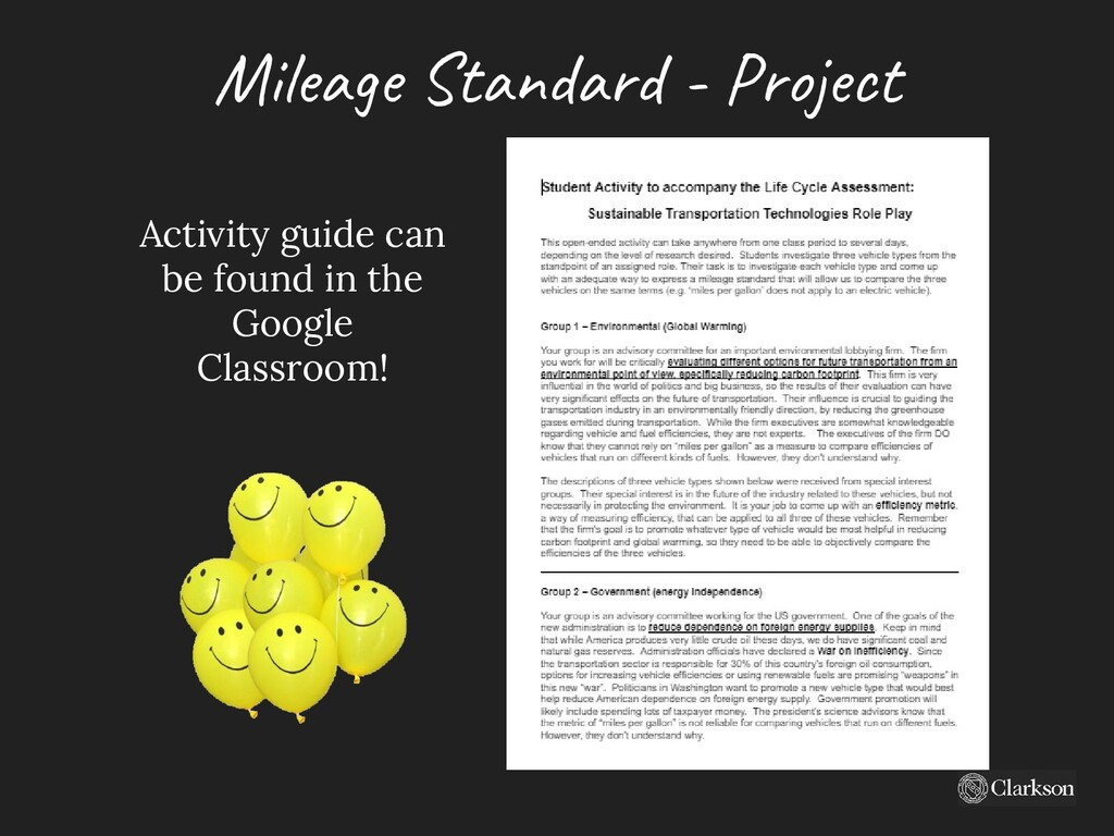 Mile ag e Standard - Project Activity guide can...