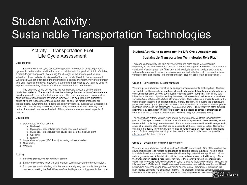 Student Activity: Sustainable Transportation Te...