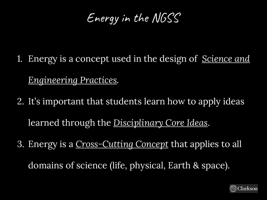1. Energy is a concept used in the design of Sc...