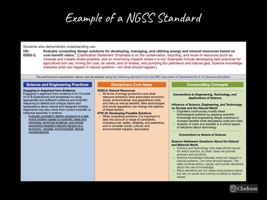 Exam ple o f a NG SS Standard