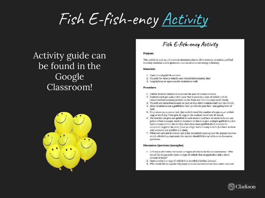 Fish E-fish-ency A ctivity Activity guide can b...