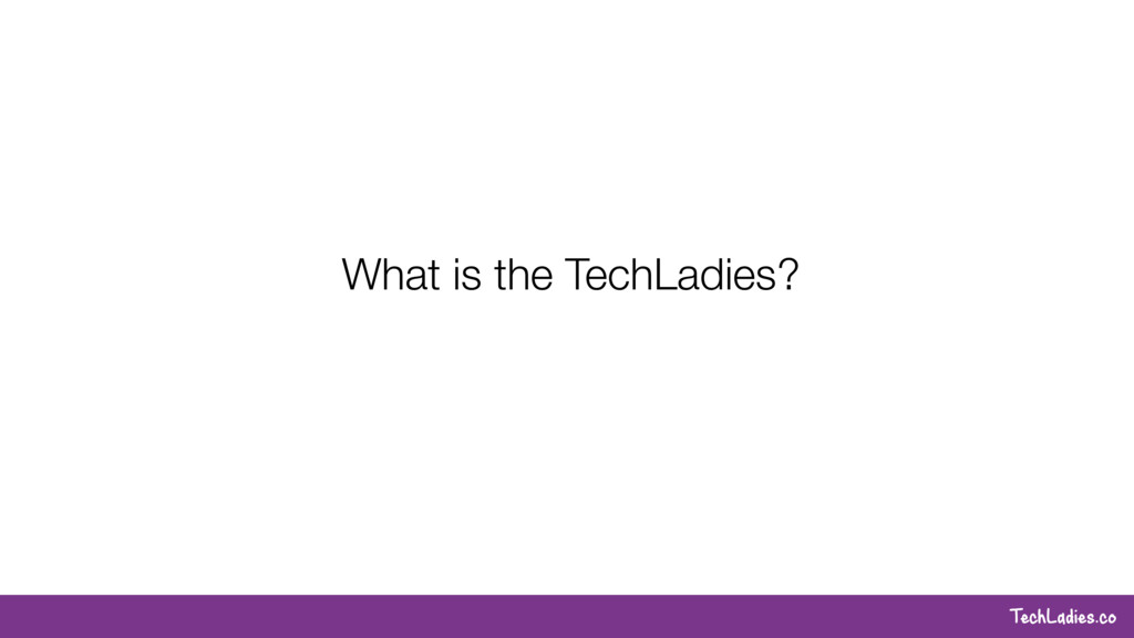 TechLadies.co What is the TechLadies?