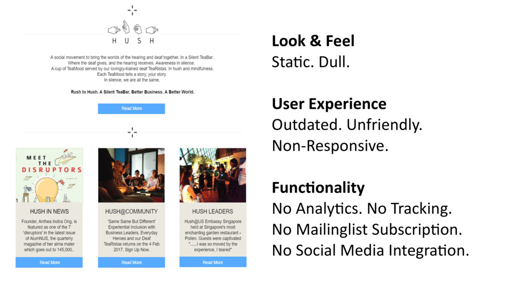Look & Feel Sta2c. Dull. User Experience