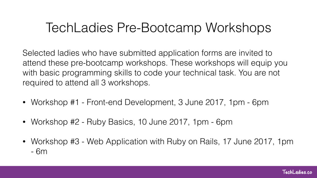 TechLadies.co TechLadies Pre-Bootcamp Workshops...