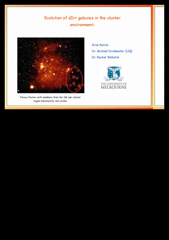 Evolution of dIrr galaxies in the cluster envir...