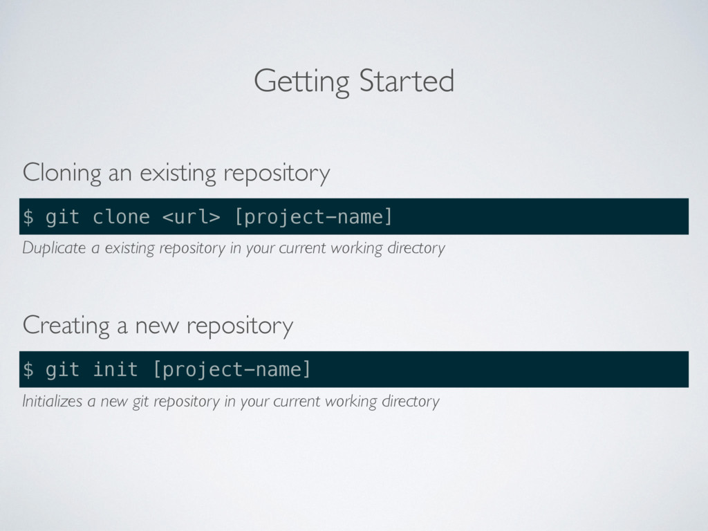 Getting Started Cloning an existing repository ...