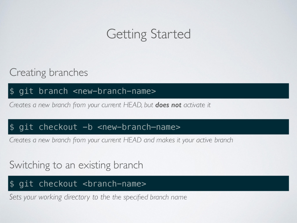 Getting Started Creating branches $ git branch ...