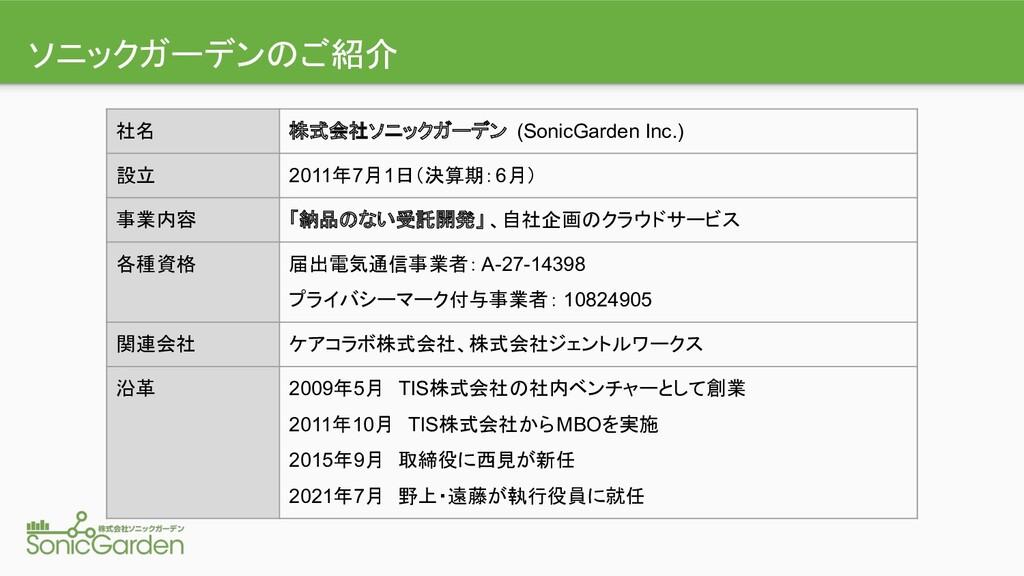 ソニックガーデン ご紹介 社名 株式会社ソニックガーデン (SonicGarden Inc.)...