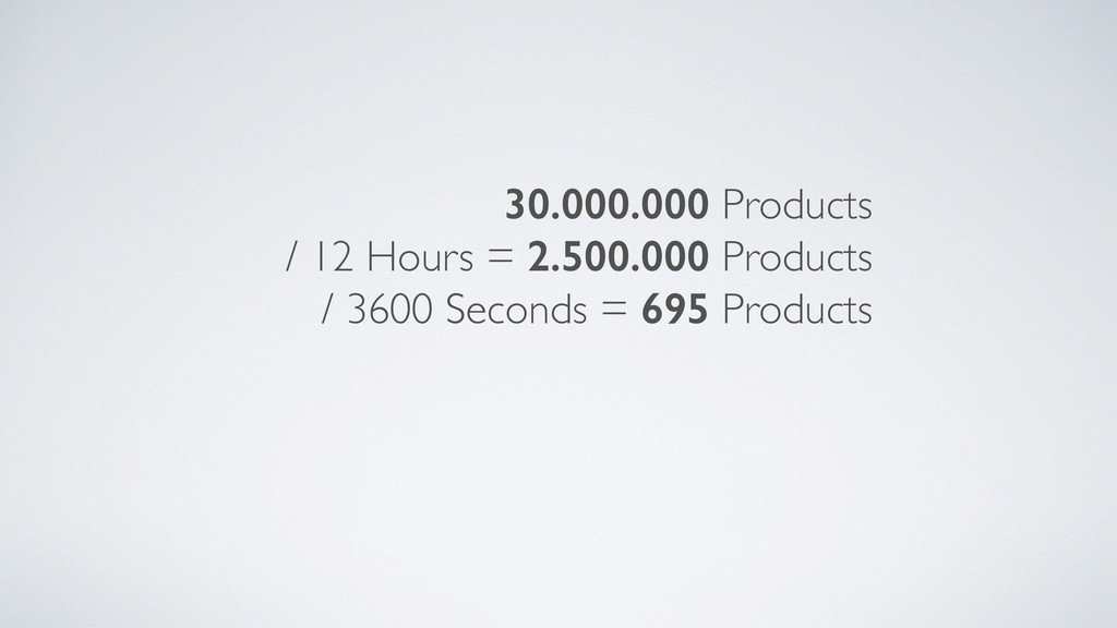 30.000.000 Products / 12 Hours = 2.500.000 Prod...