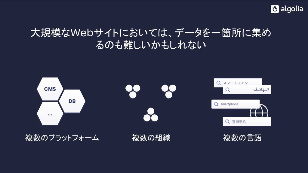 大規模なWebサイトにおいては、データを一箇所に集め るのも難しいかもしれない 複数のプラット...
