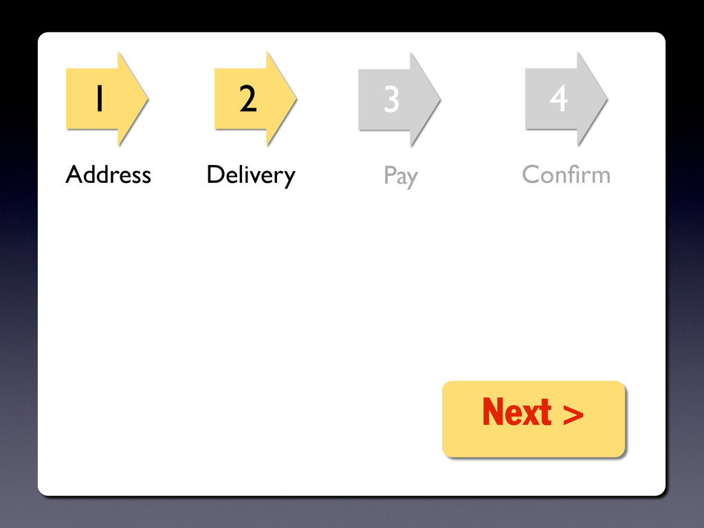 1 2 3 4 Next > Address Delivery Pay Confirm