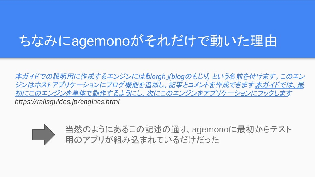 ちなみにagemonoがそれだけで動いた理由 本ガイドでの説明用に作成するエンジンには「 bl...