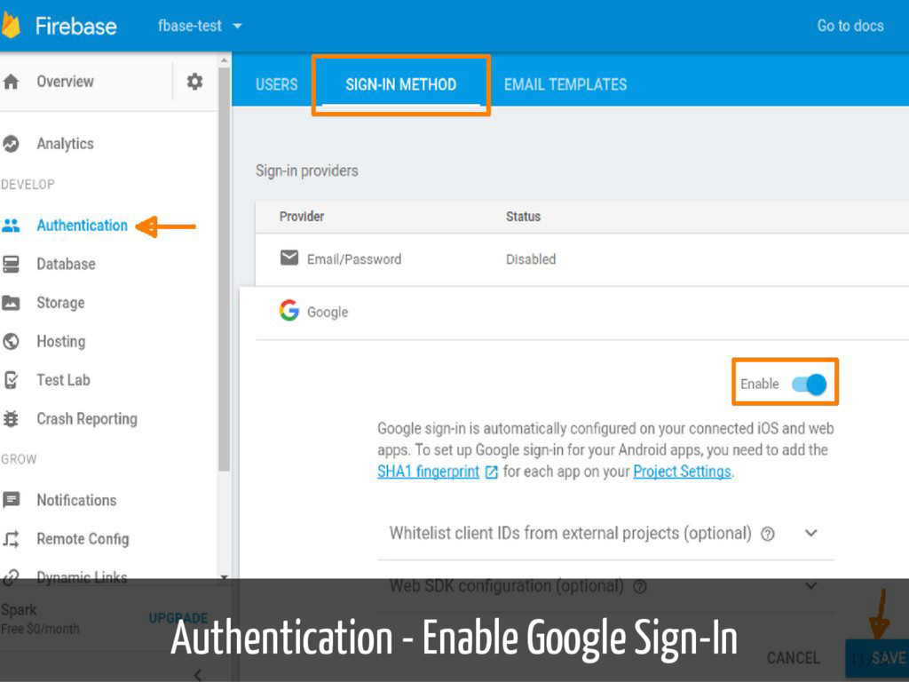 Authentication - Enable Google Sign-In 13 / 37