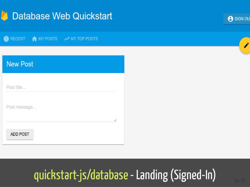 quickstart-js/database - Landing (Signed-In) 18...