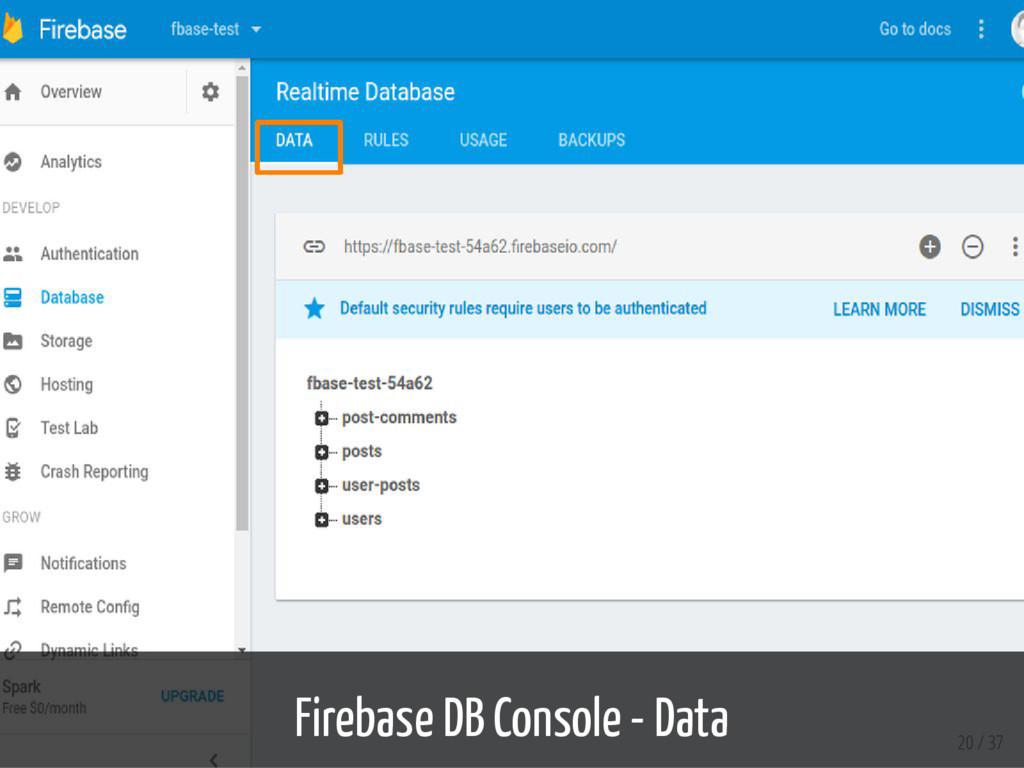 Firebase DB Console - Data 20 / 37