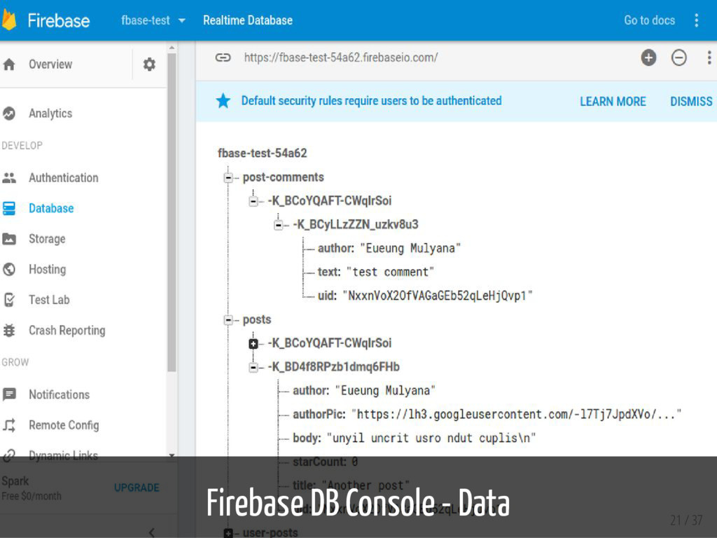 Firebase DB Console - Data 21 / 37