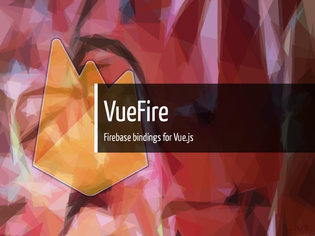 VueFire Firebase bindings for Vue.js 26 / 37