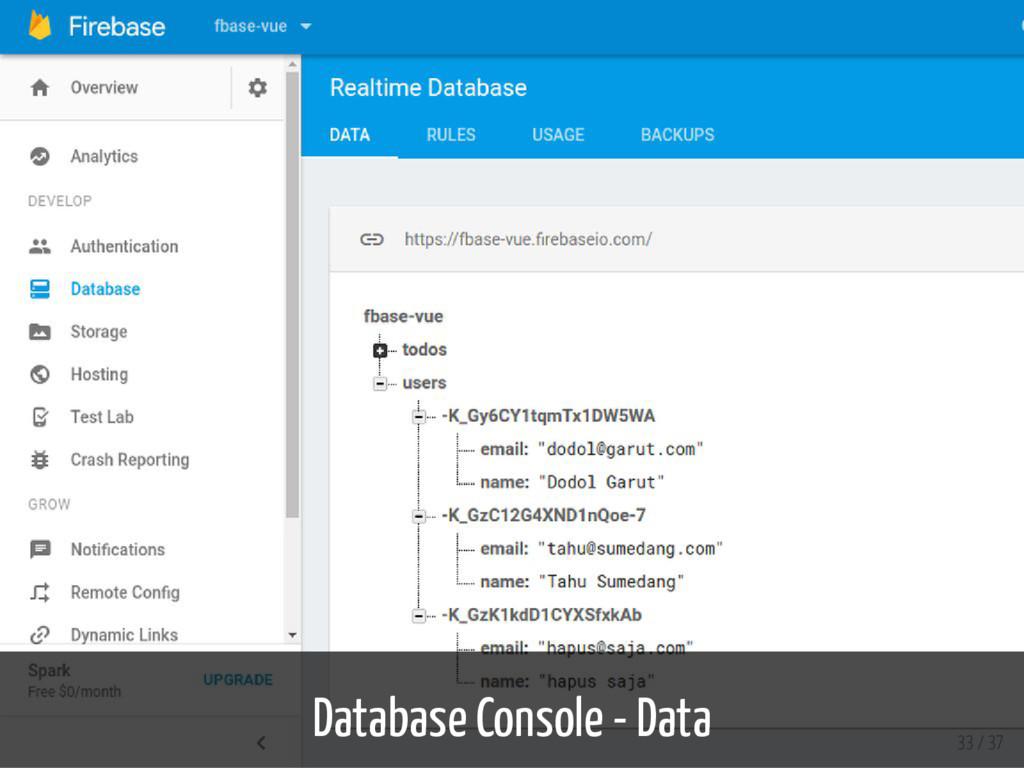 Database Console - Data 33 / 37
