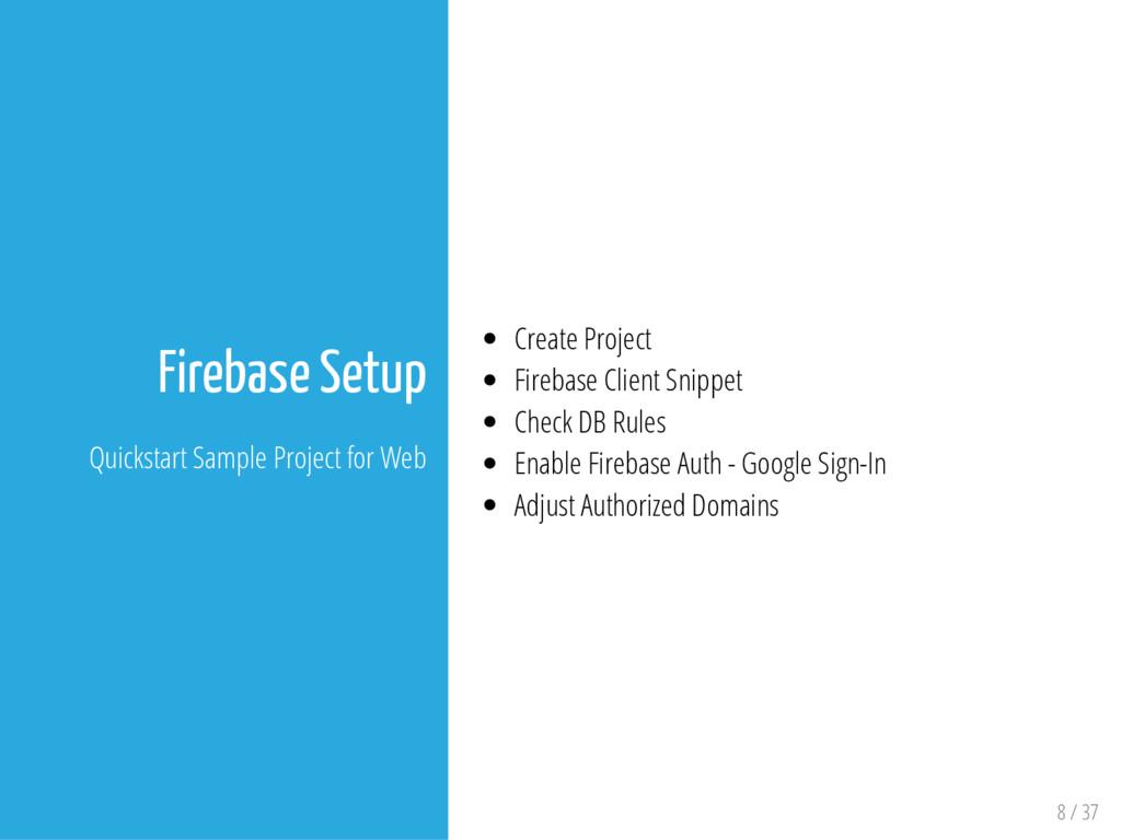 8 / 37 Firebase Setup Quickstart Sample Project...