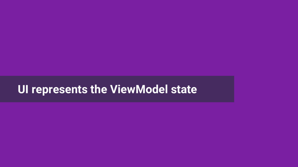 UI represents the ViewModel state