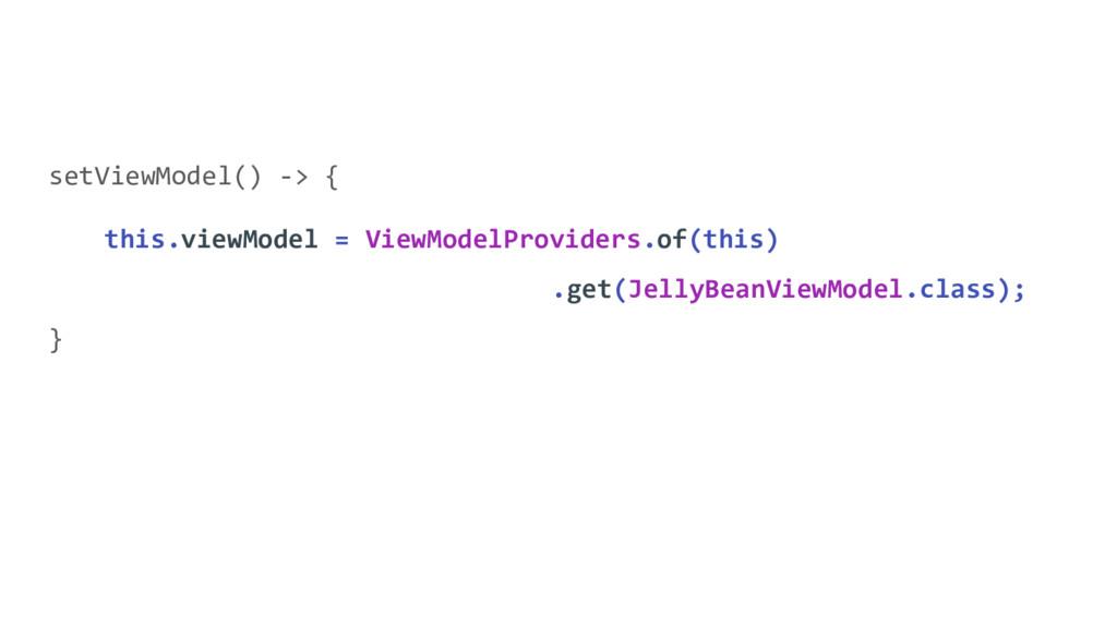 setViewModel() -> { this.viewModel = ViewModelP...