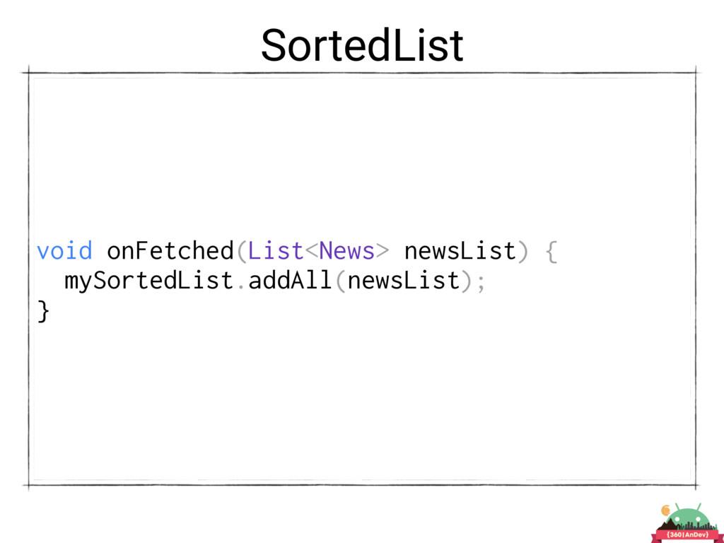 SortedList void onFetched(List<News> newsList) ...