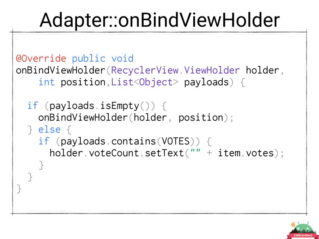 Adapter::onBindViewHolder @Override public void...