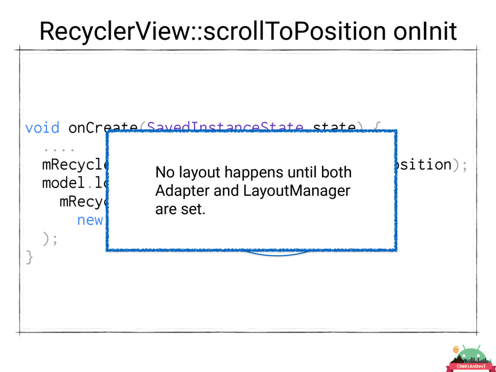 RecyclerView::scrollToPosition onInit void onCr...