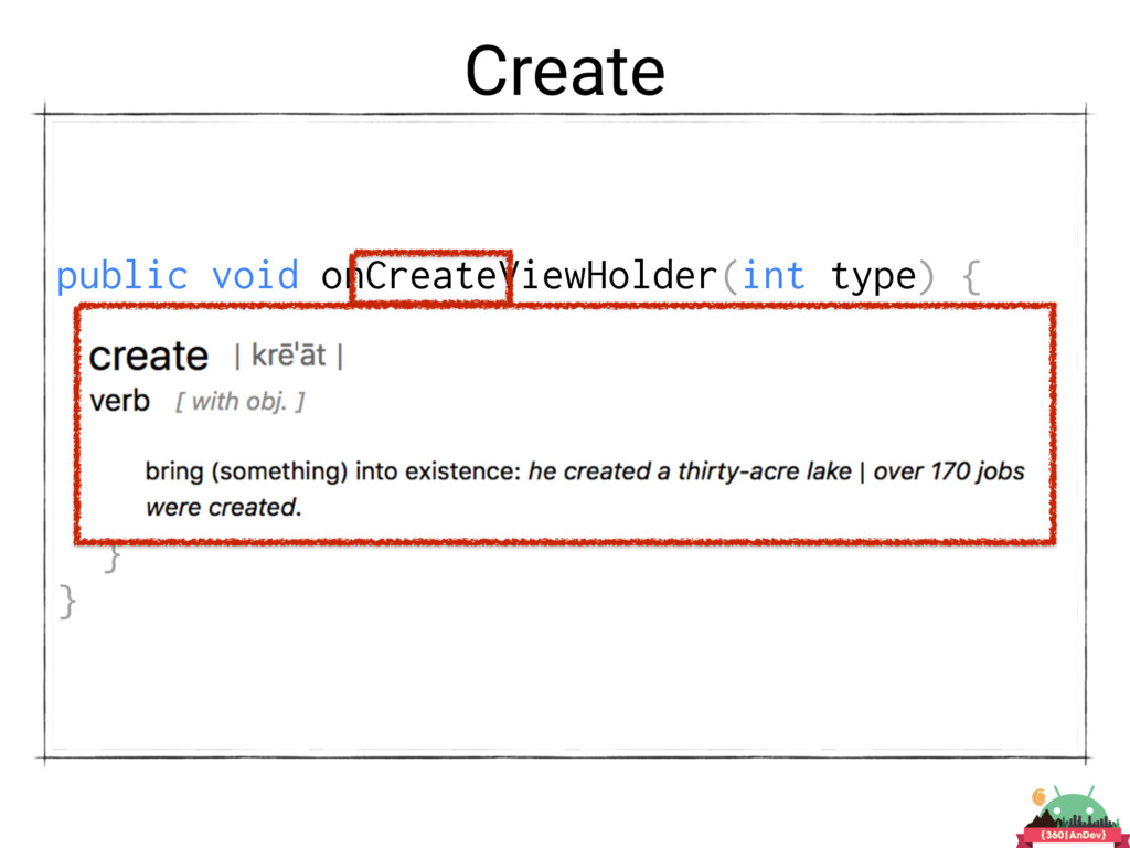 Create public void onCreateViewHolder(int type)...