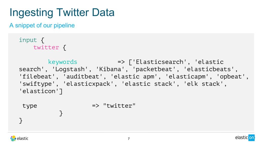 7 input { twitter { keywords => ['Elasticsearch...