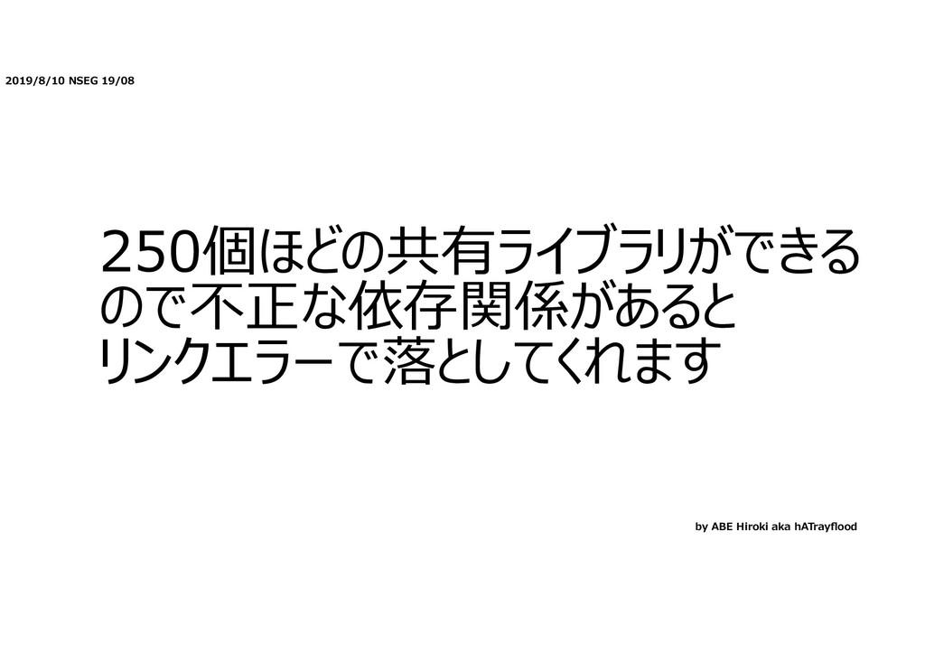 2019/8/10 NSEG 19/08 250個ほどの共有ライブラリができる ので不正な依存...