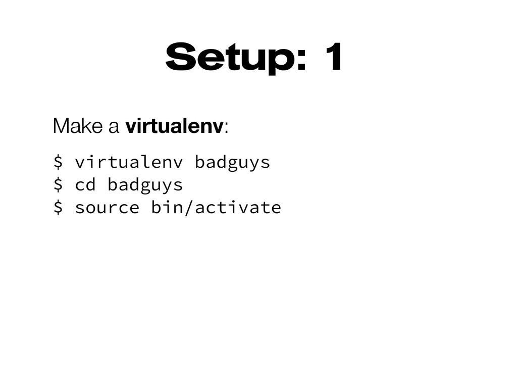 Setup: 1 Make a virtualenv: $ virtualenv badguy...