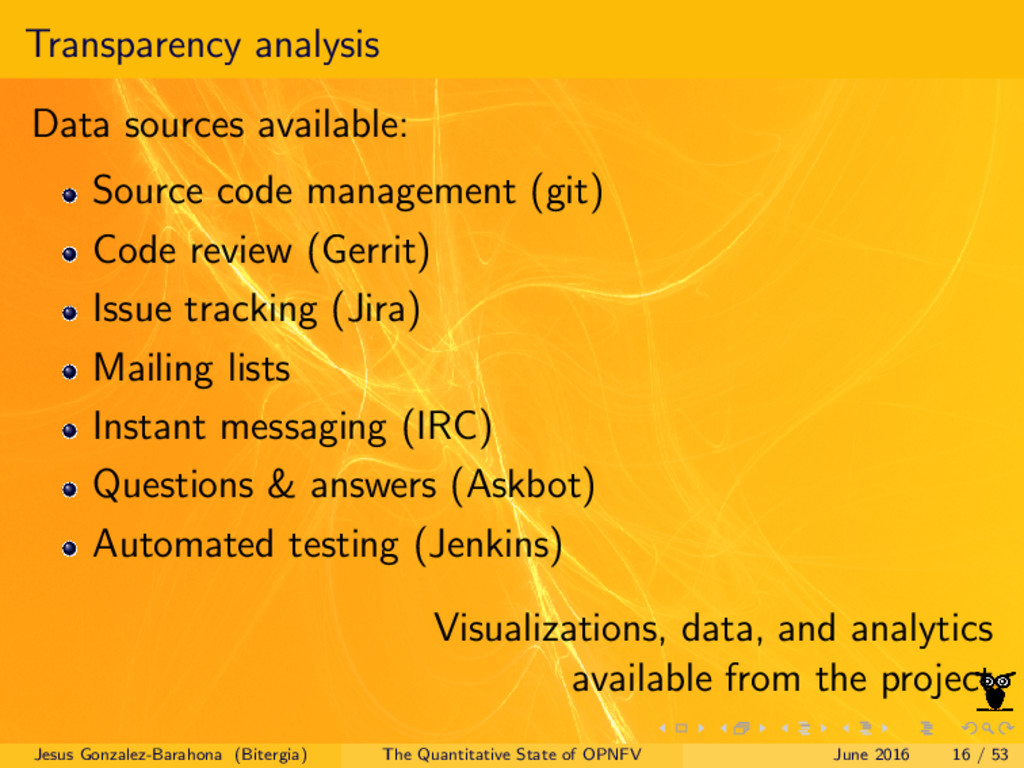 Transparency analysis Data sources available: S...
