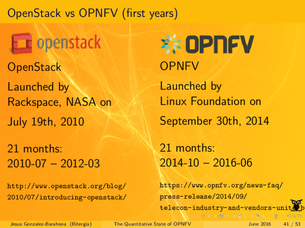 OpenStack vs OPNFV (first years) OpenStack Launc...