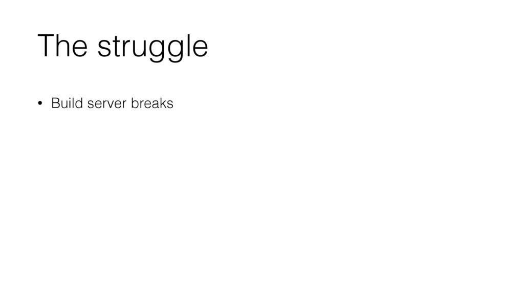 The struggle • Build server breaks