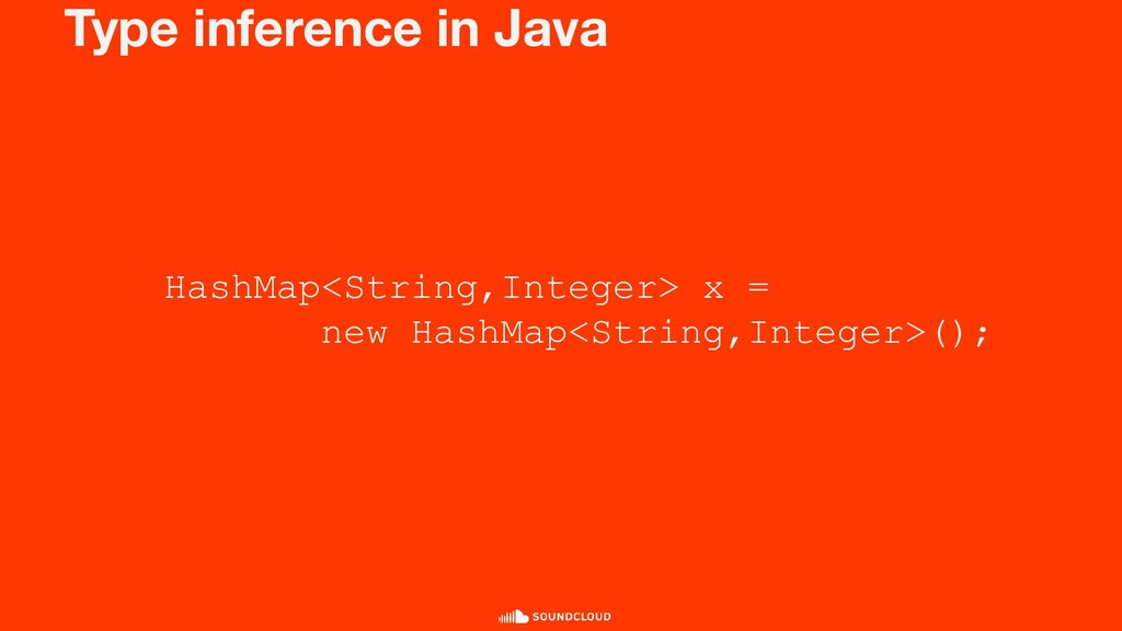 Type inference in Java HashMap<String,Integer> ...