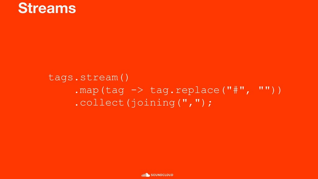 "Streams tags.stream() .map(tag -> tag.replace(""..."
