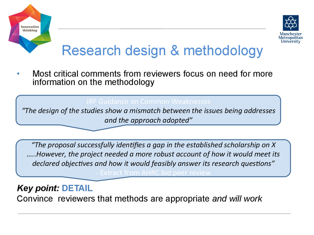 Research design & methodology  • Most criti...