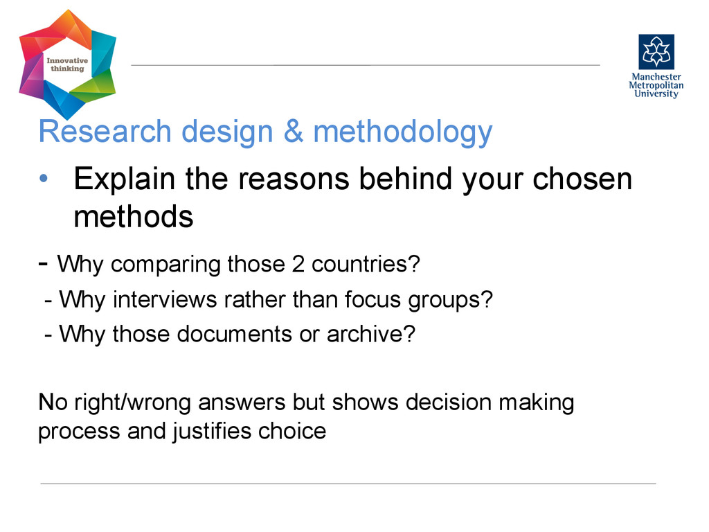 Research design & methodology  • Explain th...