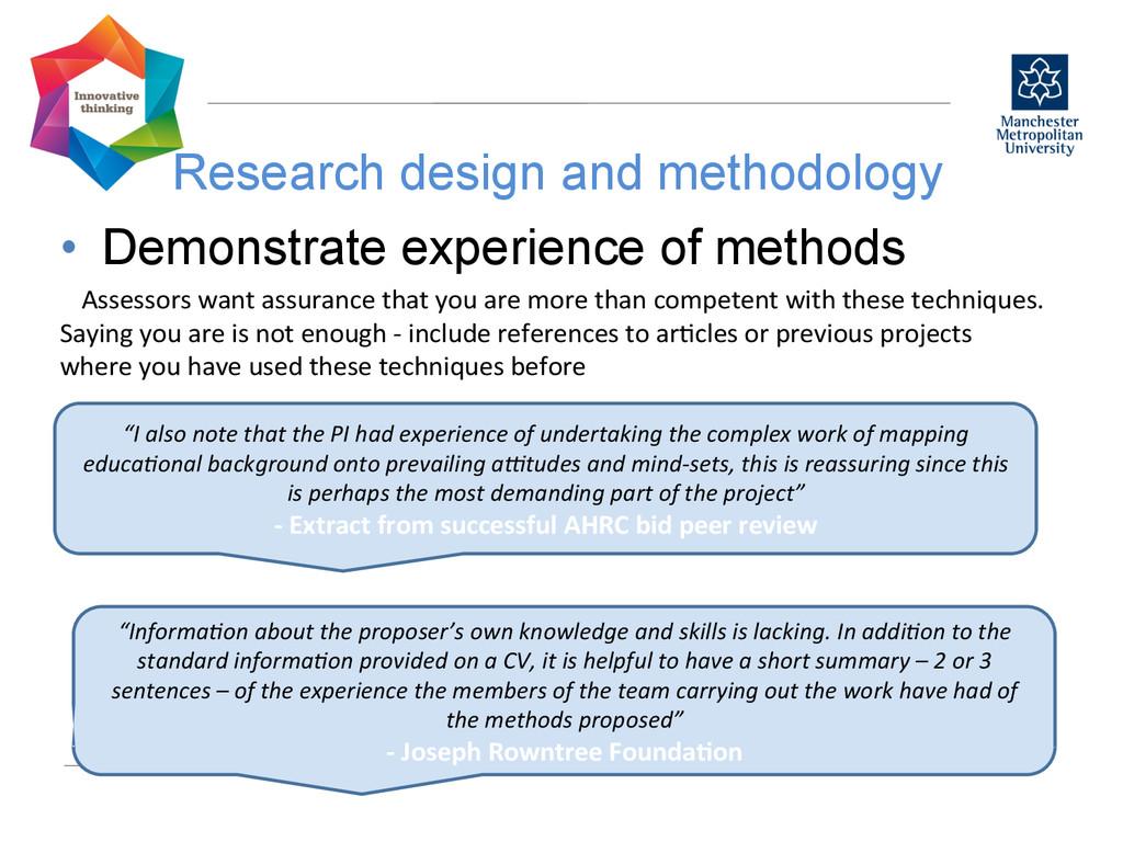 Research design and methodology  • Demonstr...