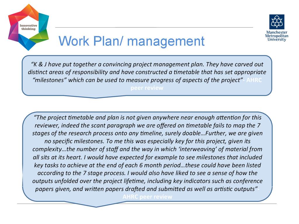 """Work Plan/ management  """"K & J have..."""