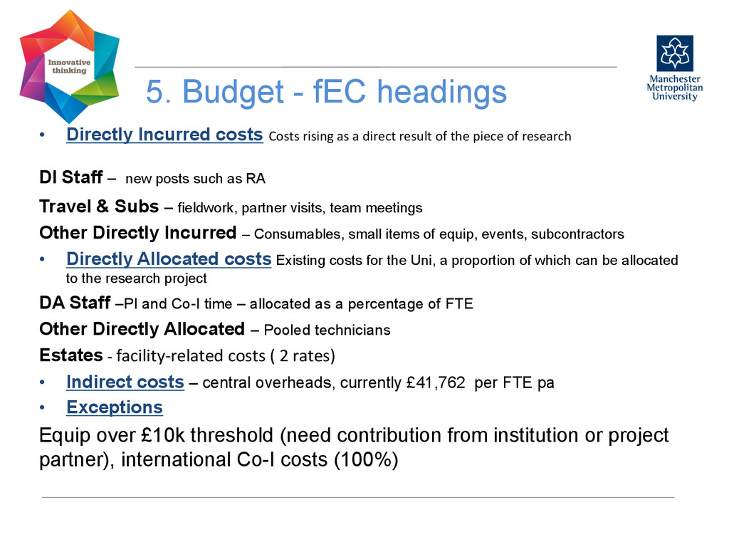 5. Budget - fEC headings  • Directly Incurr...