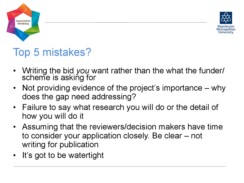 Top 5 mistakes?  • Writing the bid you want...