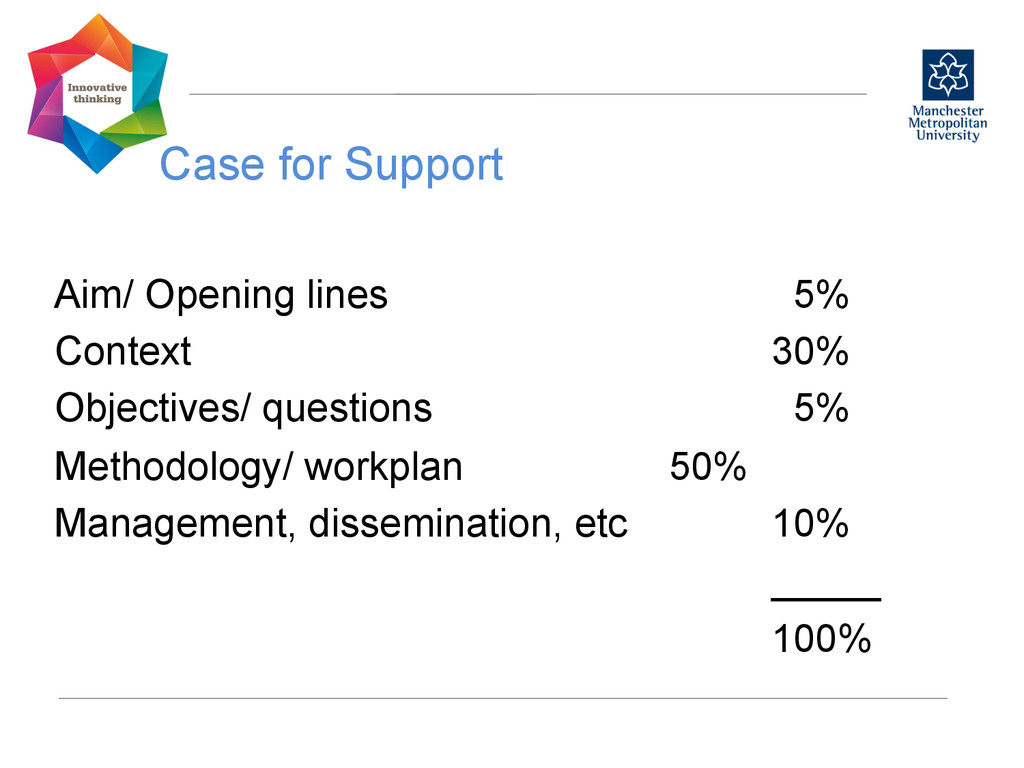 Case for Support  Aim/ Opening lines 5% Cont...