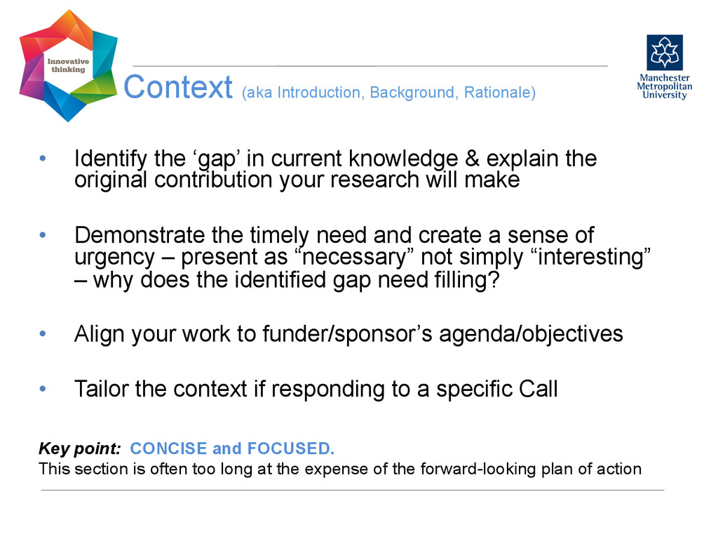 Context (aka Introduction, Background, Rational...
