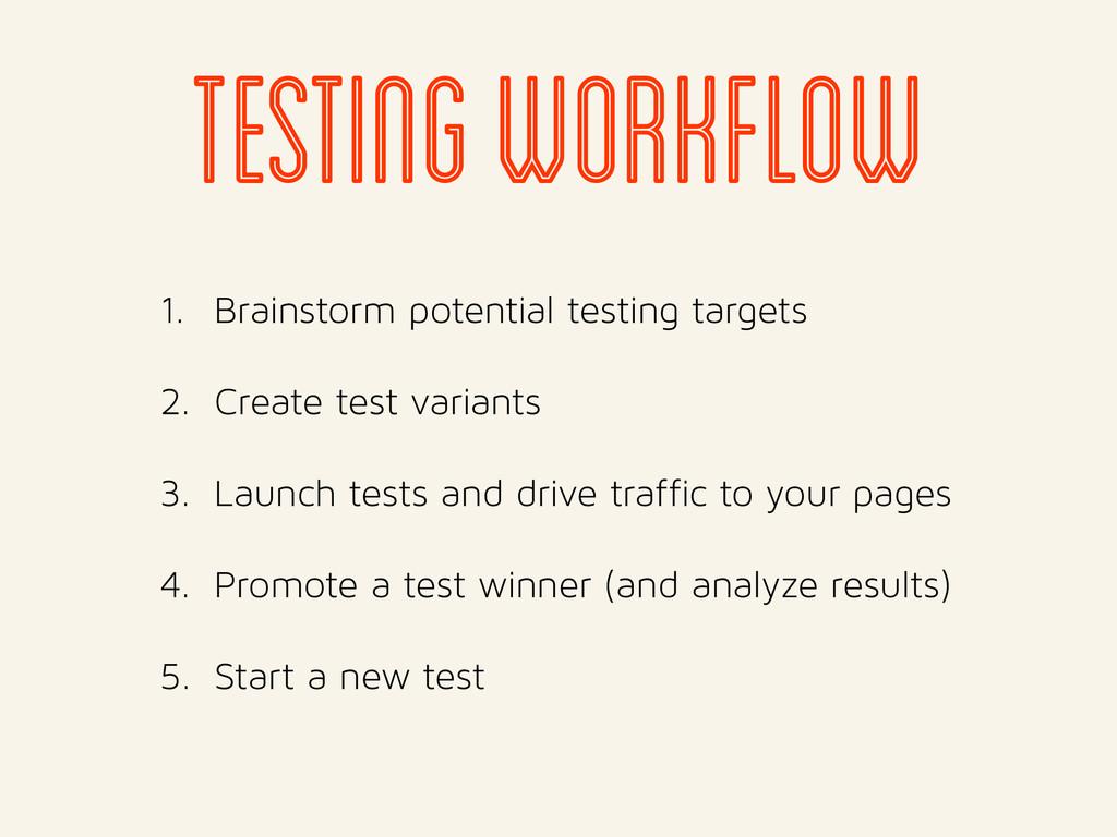 1. Brainstorm potential testing targets 2. Crea...