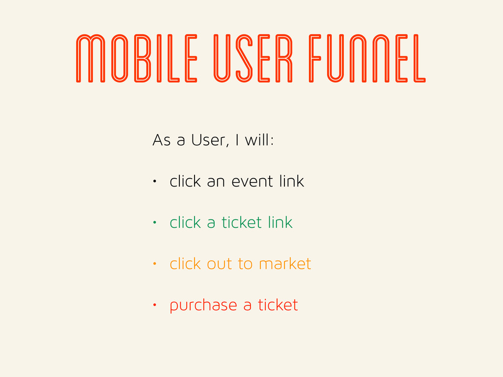 mobile user funnel As a User, I will: • click a...